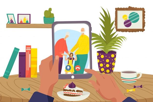 Comunicación en línea en tecnología de internet, ilustración de personas familiares de videollamadas web. conferencia de chat en computadora, conexión mujer hombre en pantalla. feliz abuela, abuelo con niño. Vector Premium