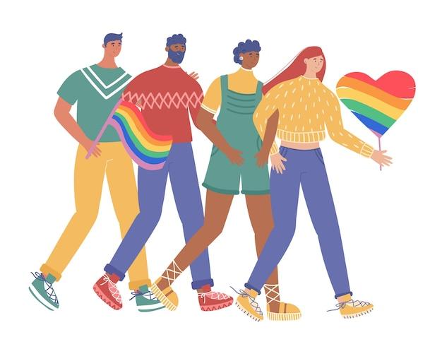 Comunidad lgbt. un grupo de gays y lesbianas participa en el desfile del orgullo. ilustración de vector de estilo de dibujos animados. Vector Premium
