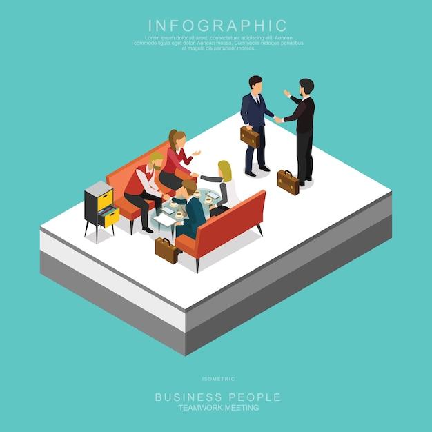 Comunidad de negocios isométricas reunión en equipo en la oficina Vector Premium
