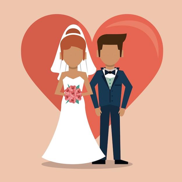 Con gran corazón y pareja sin rostro de recién casado | Descargar ...