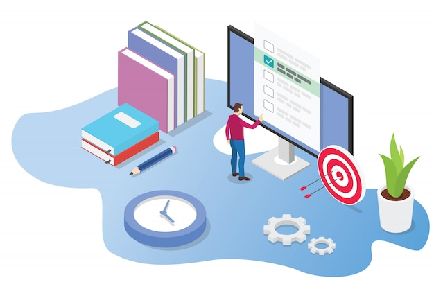 Concepto 3d en línea isométrico de examen o curso Vector Premium