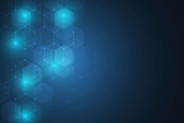 Concepto abstracto de ciencia y tecnología de elementos hexagonales. Vector Premium