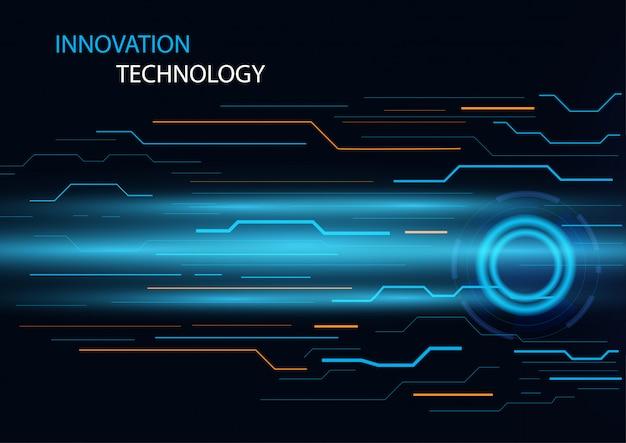 Concepto abstracto de innovación y tecnología con fondo de concepto de diseño de líneas de circuito. Vector Premium