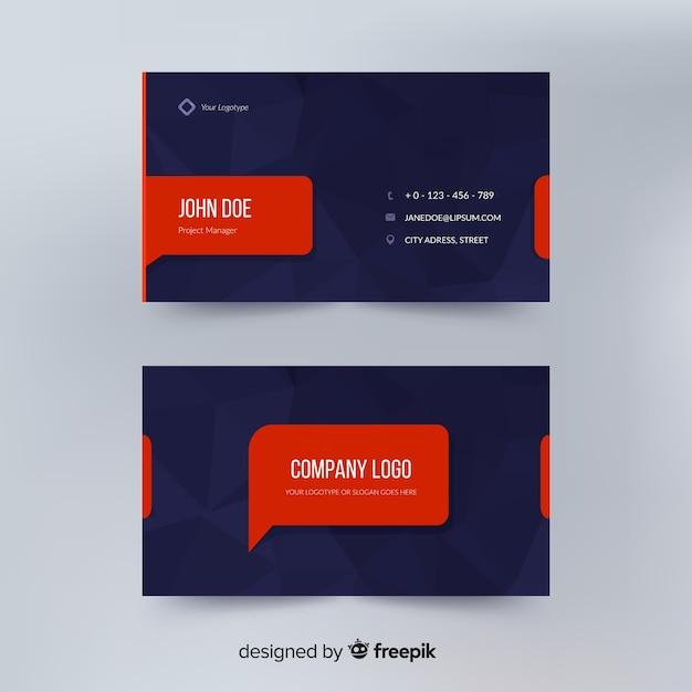 Concepto abstracto de plantilla de tarjeta de visita vector gratuito