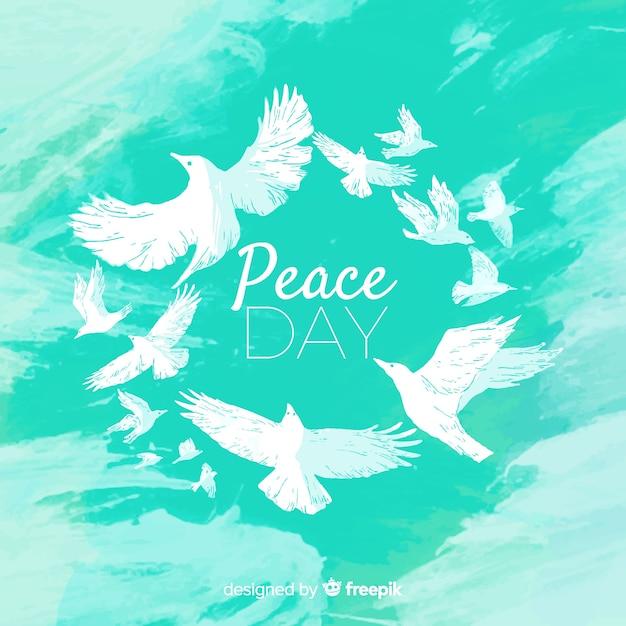 Concepto de acuarela del día internacional de la paz con paloma blanca vector gratuito