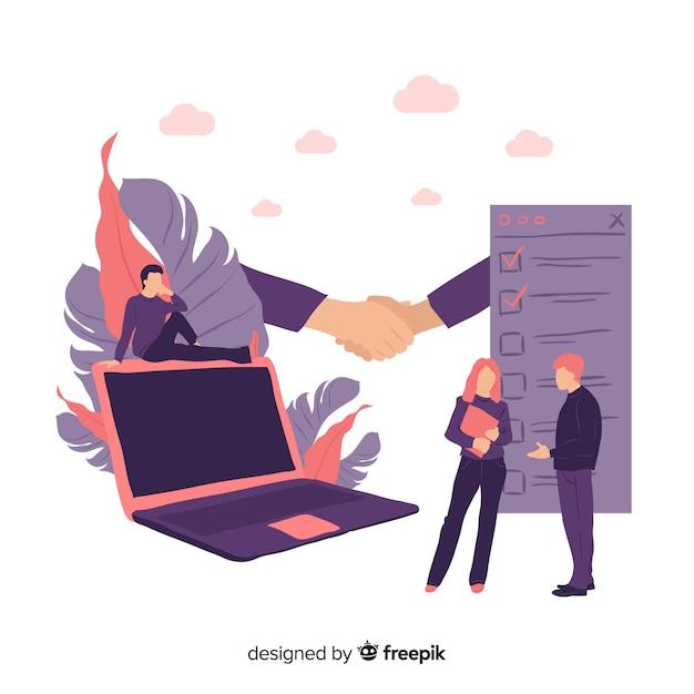 Concepto de acuerdo de negocios dibujado a mano vector gratuito