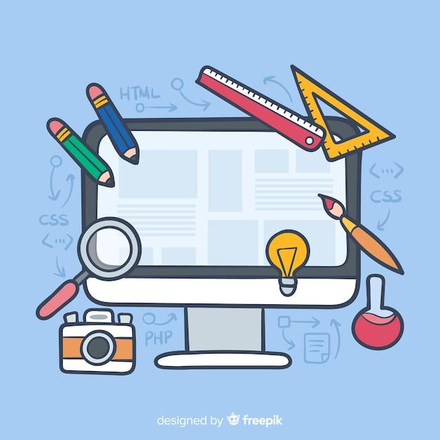 Concepto adorable de diseño web dibujado a mano vector gratuito