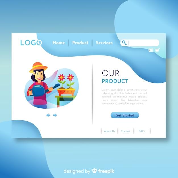 Concepto adorable de diseño web con diseño plano vector gratuito