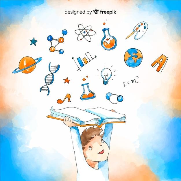 Concepto adorable de educación en acuarela vector gratuito