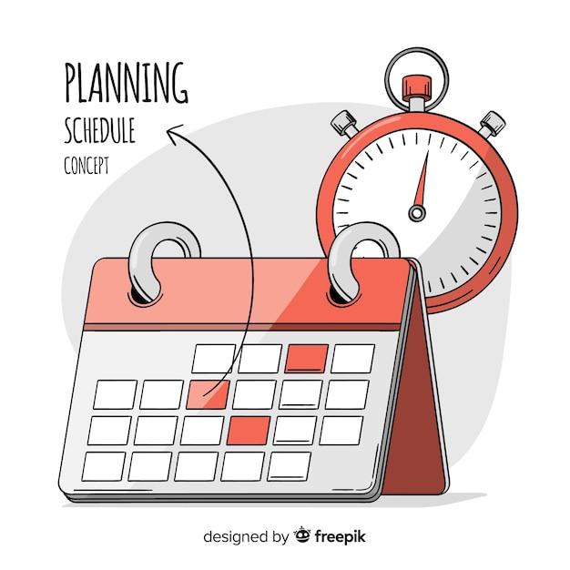 Concepto adorable de organización de horario dibujado a mano vector gratuito