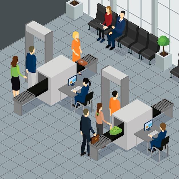 Concepto de aeropuerto de personas isométricas vector gratuito