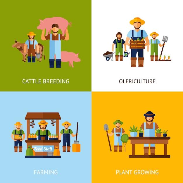 Concepto de los agricultores vector gratuito
