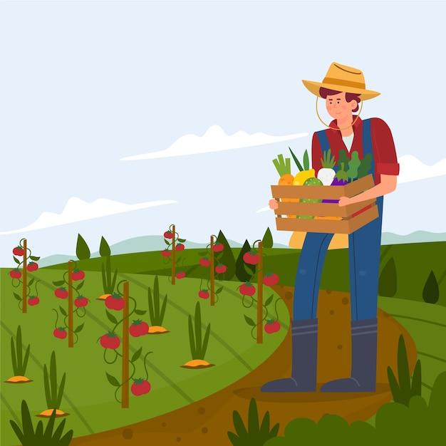 Concepto de agricultura ecológica con agricultor vector gratuito