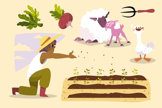 Concepto de agricultura ecológica vector gratuito