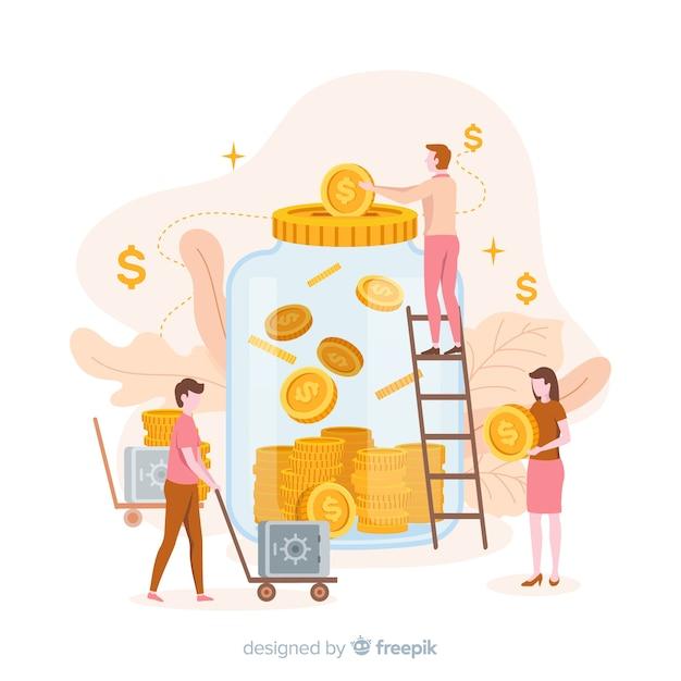 Concepto de ahorrar dinero vector gratuito