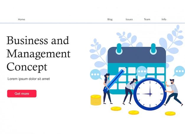 Concepto de ahorro de tiempo y página de destino de dinero. Vector Premium