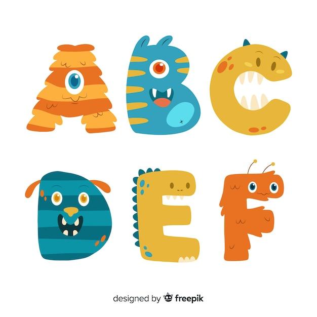 Concepto de alfabeto de monstruo de halloween vector gratuito