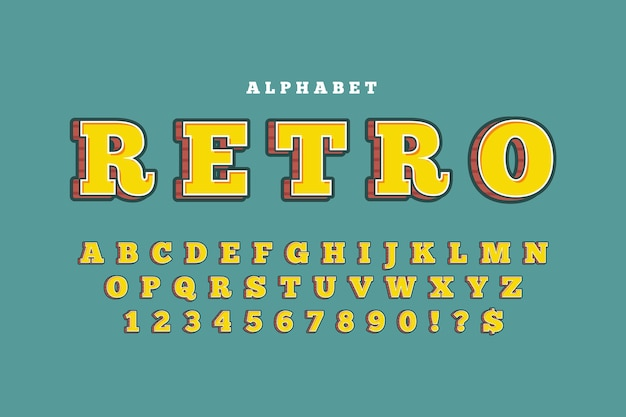 Concepto de alfabeto retro 3d Vector Premium