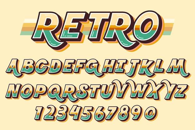 Concepto de alfabeto retro 3d vector gratuito