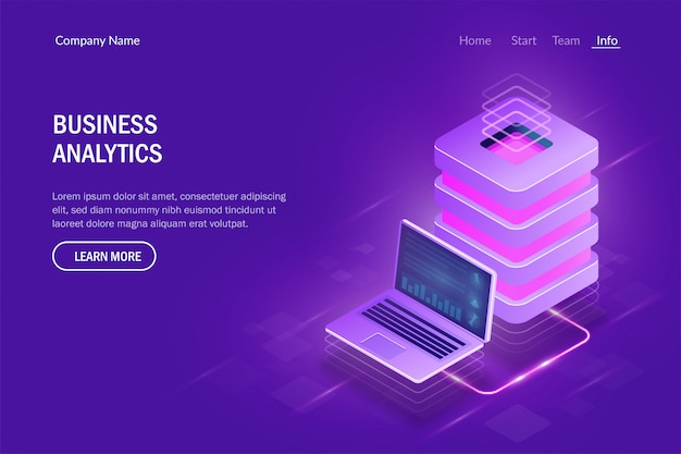 Concepto de análisis empresarial. computación en la nube. gran centro de datos. intercambio de datos entre computadora portátil y servidor Vector Premium