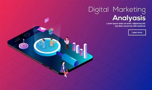 Concepto de análisis de marketing digital. Vector Premium