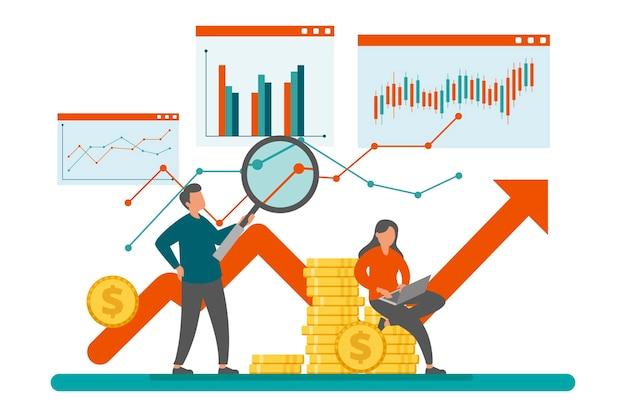Concepto de análisis del mercado de valores Vector Premium