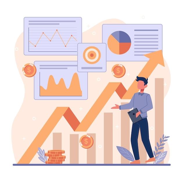 Concepto de análisis del mercado de valores vector gratuito