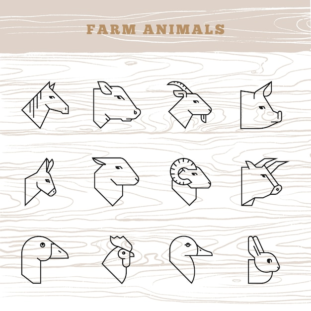 Concepto de animales de granja. icono de vector en un estilo lineal de siluetas de animales de granja Vector Premium