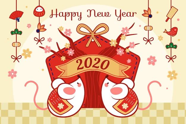 Concepto de año nuevo chino dibujado a mano vector gratuito