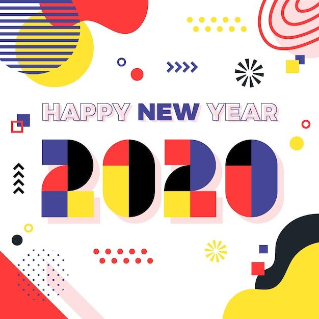 Concepto de año nuevo en diseño plano vector gratuito