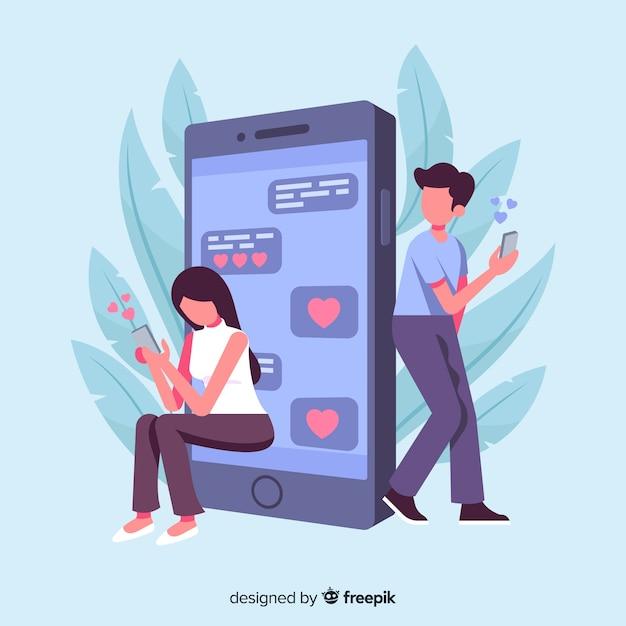 Concepto de aplicación de citas con iphone vector gratuito
