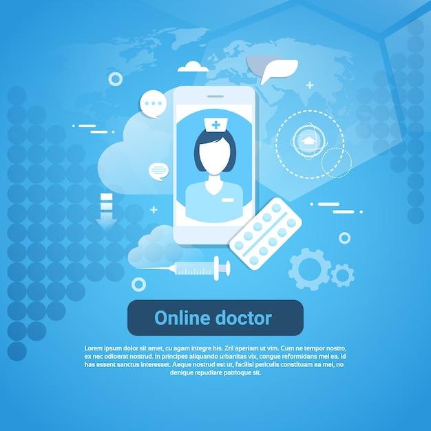 Concepto de aplicación de cuidado de la salud web banner Vector Premium