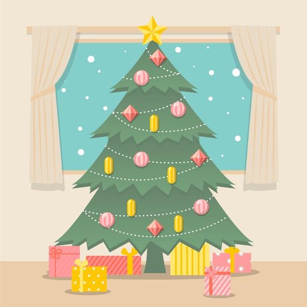 Concepto de árbol de navidad con diseño vintage vector gratuito
