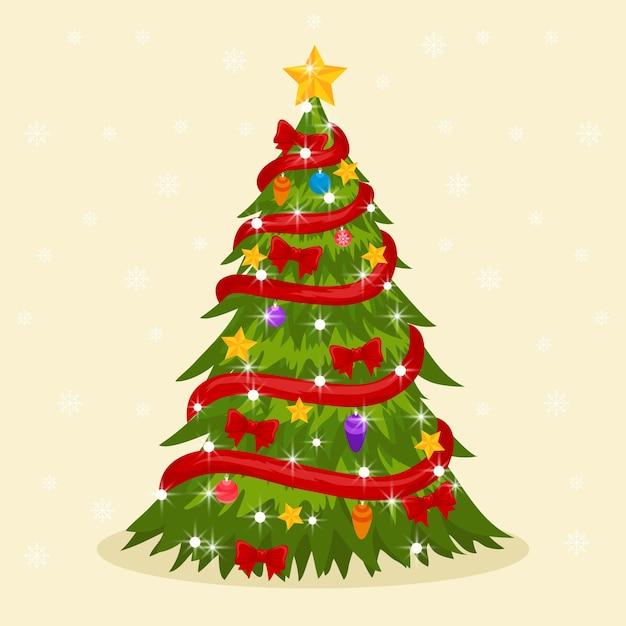 Concepto de árbol de navidad con estilo 2d vector gratuito