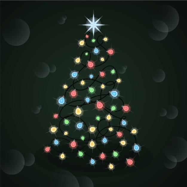 Concepto de árbol de navidad hecho de bombillas vector gratuito