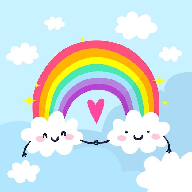 Concepto de arco iris dibujado a mano vector gratuito