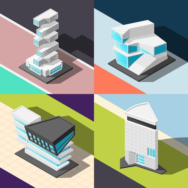 Concepto de arquitectura futurista vector gratuito