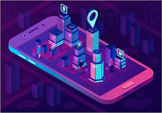 Concepto de arquitectura isométrica de ciudad inteligente Vector Premium