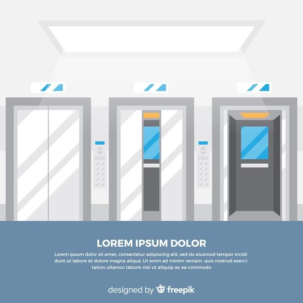 Concepto de ascensor con puerta abierta y cerrada vector gratuito