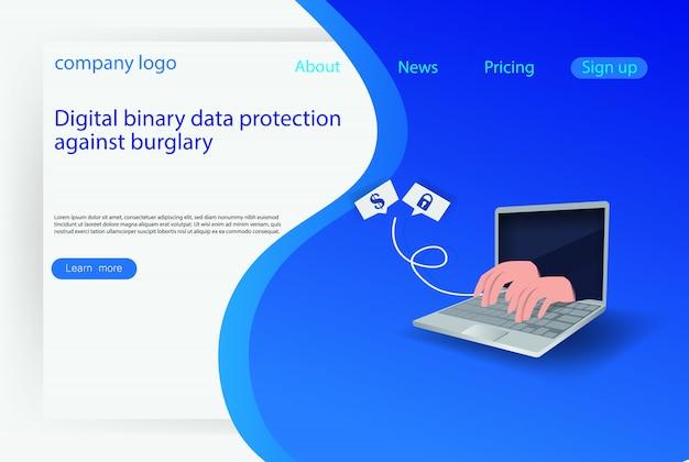 Concepto de ataque de hackers de internet web Vector Premium