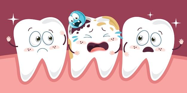 Concepto de atención médica de los dientes con personajes de dibujos animados Vector Premium