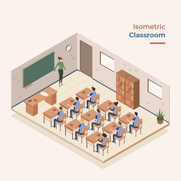 Concepto de aula isométrica Vector Premium