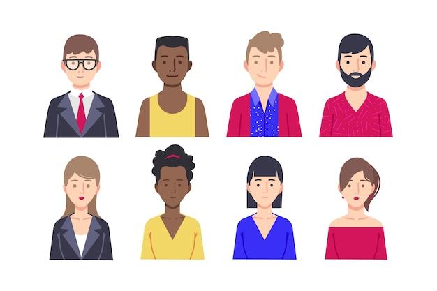 Concepto de avatar de personas para el tema de ilustración vector gratuito