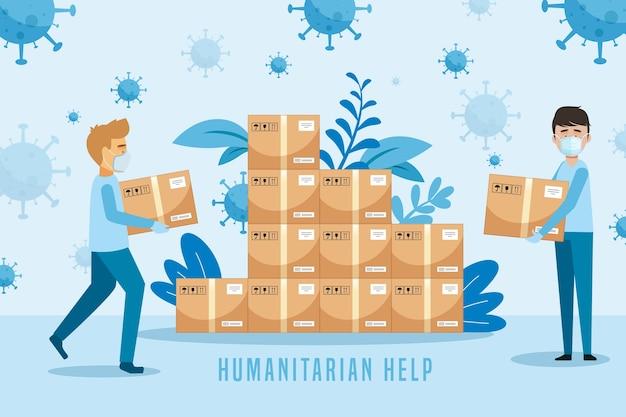 Concepto de ayuda humanitaria vector gratuito