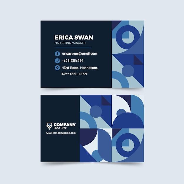 Concepto azul clásico para plantilla de tarjeta de visita vector gratuito