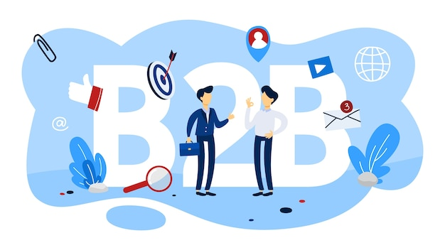 Concepto b2b. forma de comunicación de empresa a empresa. estrategia de marketing y comercio. empresa como cliente. plano Vector Premium