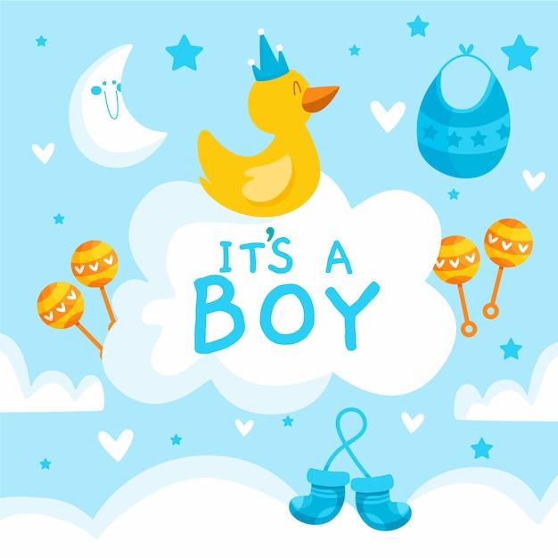 Concepto de baby shower boy vector gratuito