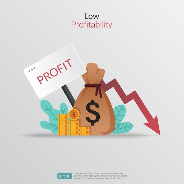 Concepto de baja rentabilidad. símbolo de pérdidas y ganancias con ilustración de flecha de disminución. Vector Premium