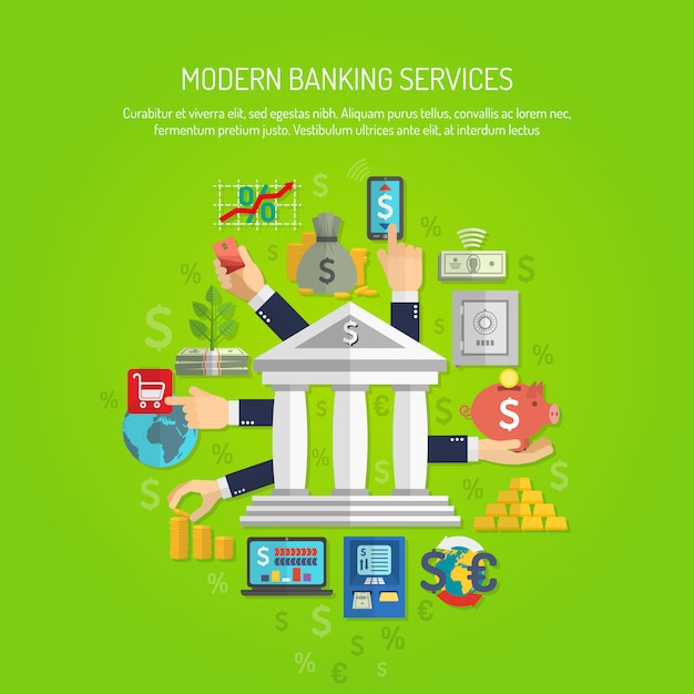 Concepto de banca plana vector gratuito