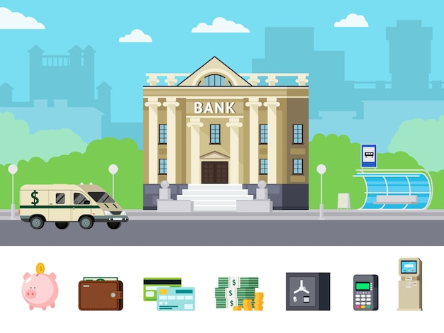 Concepto de banco ortogonal vector gratuito
